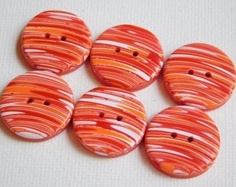 3/4 inch polymer clay buttons, 19 mm buttons,red orange and white