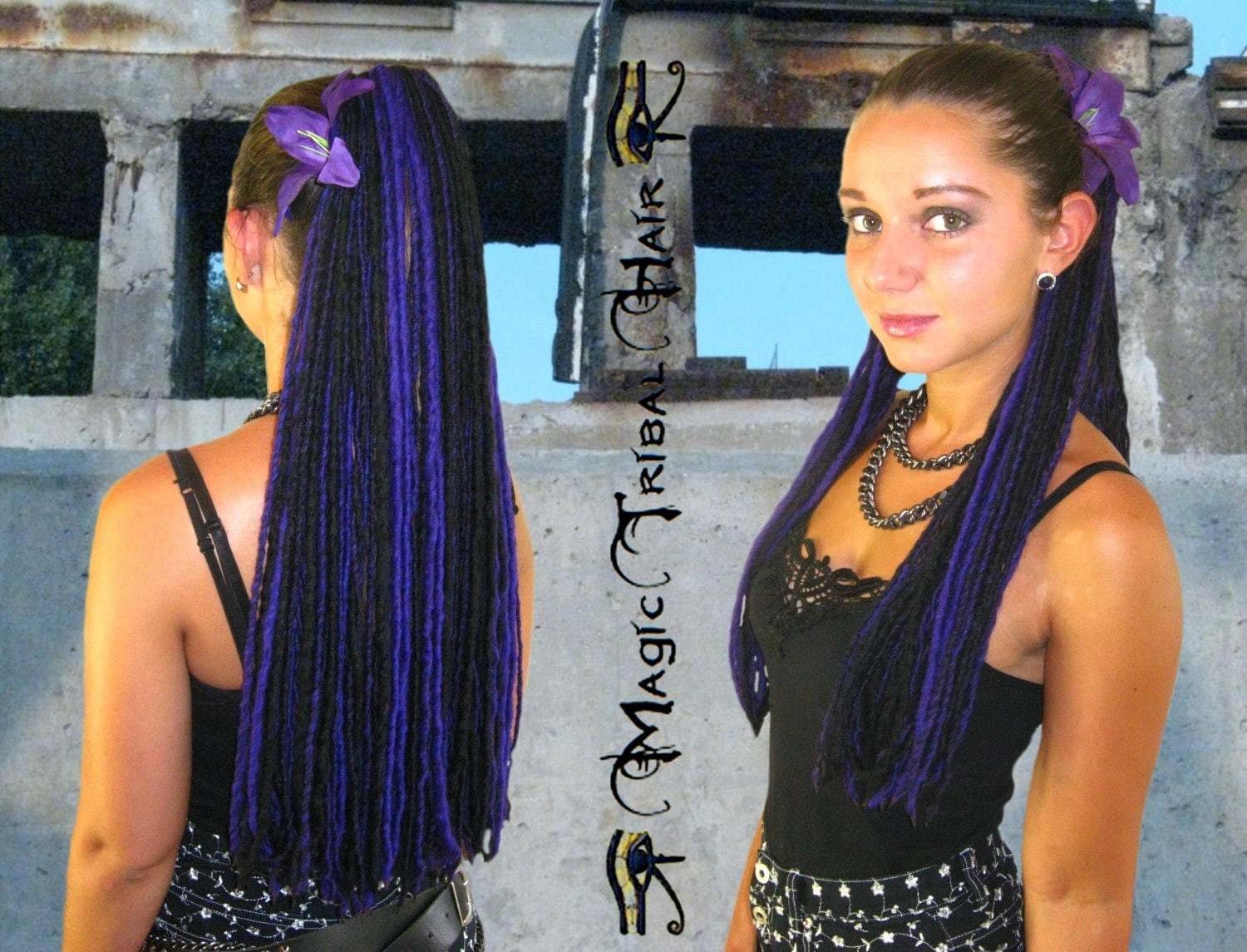 Purple Black Goth Lolita Dread Yarn Hair Fall 112 Dreadlocks