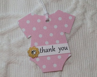 Set of 12 Pink and White Polka Dot Bodysuit Thank You Tags - Gold Flowers with Rhinestone Centers  - Baby Shower, Favor Gift Tags