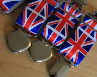 made in the United Kingdom SUSPENDERS - metal crocodile clips - hearts and  sliders - UNION JACK - wear with hand made stockings