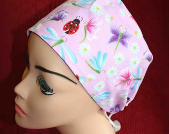 SALE... Flowers and Lady Bugs Cap (biker/chemo/surgical)