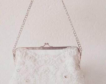 Sweet Couture White Lace Clutch Purse / Vintage Romance Wedding  / Bridal Accessories /