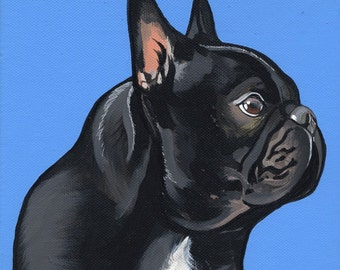 Original French Bulldog Painting 20x20cm