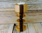Wooden Candle Holder - Tealight Holder-  Maple and Walnut - Wood Carving - Hand Carved Wooden Candle Holder