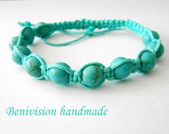 Turquoise Bracelet -Handmade Turquoise  Shamballa Jewelry Bracelet