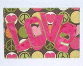Love Birthday Mom Friend Card -MADE TO ORDER- Retro Frame Gift Child Thank You Housewarming Fabric Postcard Art Quilt Fabric Appliqued 4x6