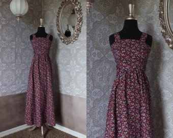 Vintage 1970's Blue Red and White Boho Floral Sundress XS