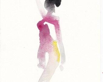 "Femme 150 original figure gesture watercolor and pastel 8"" x 10"" Unframed"