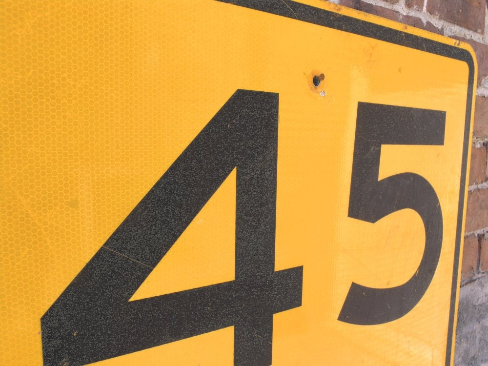 45th birthday gift Metal Road Sign speed limit 45 mph street traffic ...
