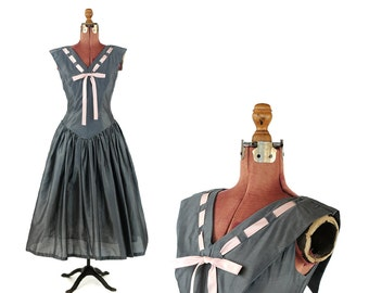 Vintage 1950's Steel Gray Cotton Pink Bow Tie Party Prom Evening Full Circle Flair Skirt Dress M