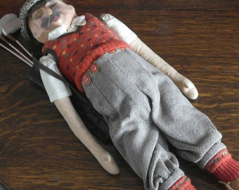 hand made vintage irish golfer doll