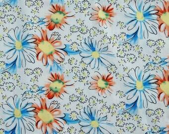 C2016A - 1 meter  Cotton Fabric - Chrysanthemum (white) (145cm width)