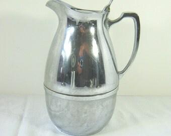 Vintage THERMOS Water PITCHER  Glass Insert CHROME Beverage Cooler Barware