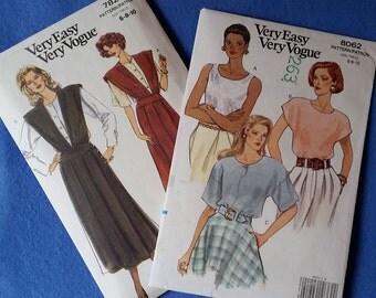 Uncut Very Easy Very Vogue Sewing Pattern - 7825 or 8062 - Misses'/Misses' Petite Blouse or jumper and blouse - size 6 8 10