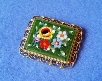 Vintage Micromosaic Floral  Rectangle Brooch - green background, gold filigree
