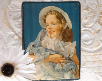 Vintage Biscuit Tin Aymore Litho Girl Holding Bunny Rio De Janeiro