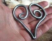 spiral heart keychain charm/pendant, blacksmith hand forged
