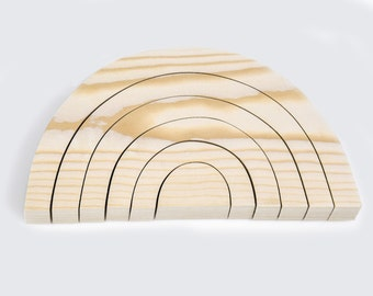 Plain Rainbow Stacking Toy-Wooden block-kid natural toy