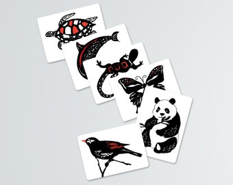 Black, White and Red Contrast Animal Art Cards-12 cards-PDF download