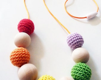 Colorful Nursing Necklace/Montessori Jewelry/Breastfeeding Necklace/Baby Shower Gift/CottonTeething Toy/Girl Birthday Gift