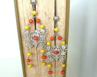 Vintage Screw Back Earrings Sterling Butterfly Yellow Orange Dangle 70's (item 116)