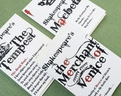 Shakespeare Quote Cards, Romeo and Juliet,Macbeth,Hamlet,The Tempest,Merchant of Venice, Set of 5
