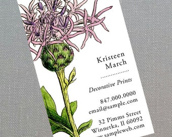 Garden Thistle,Scottish Thistle, business card for Gardener Set of 50