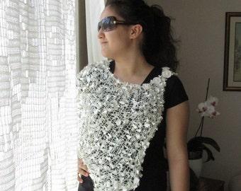 Cream shrug -  Ivory white loose knit shrug cream white bridal shrug perfect for summer -   Bridal Shawl  -  Wedding Scarf
