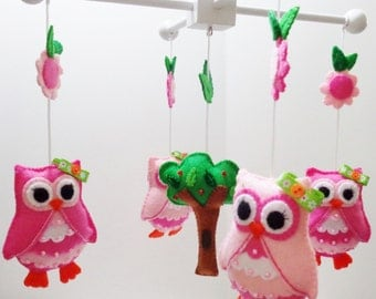 Pink Owls Felt Baby Mobile/ Ready to Ship. Free Shipping