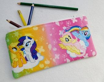 Pony print Pencil Case/ Crayon Case/Makeup Bag/ Cosmetic Case/ Ready to Ship