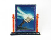 Repurposed Antique Frame in Hinged Stand, Coyote Creates The Milky Way Framed Note Card by Alicia Austin