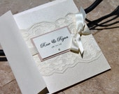 """Chic Rustic Lace Card Wedding Invitation. Invitation Set. """"The Venetian pocketfold"""" Suite in Ivory Nude. Rustic Chic"""