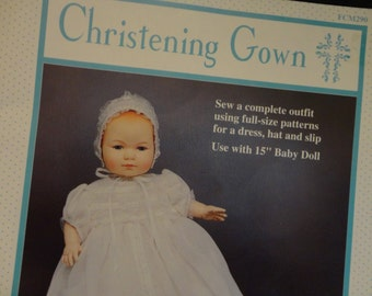 """Vintage Doll Dress Pattern 1992 Christening Gown for 15"""" Baby Doll, full size patterns for dress, hat and slip, all instructions included"""