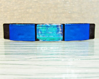 """Large 4-3/16"""" Dichroic Fused Glass Barrette Blue Teal Black Hair Barrette Dichroic Glass Barrette Gifts for Women Under 30 Dollars Birthday"""
