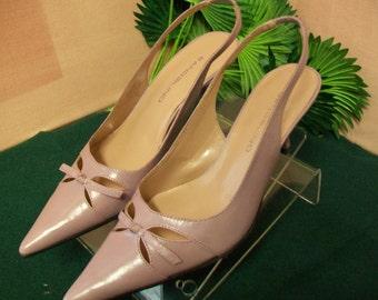 Medium Purple Leather Spike Heel Pointed Toe Dress Shoes size 8M
