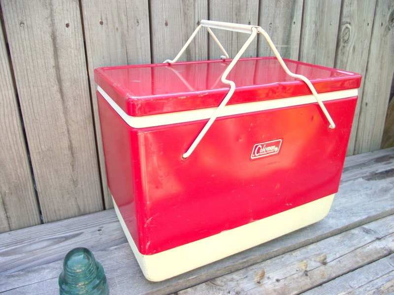 Vintage 1960 Red Coleman Metal Cooler Ice Chest Folding