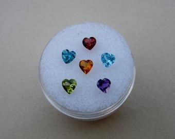 6 Natural Heart Gems 4mm each