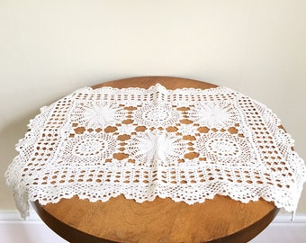 Vintage Crochet Doily - Rectangular - White Doilies - Crochet Doilies