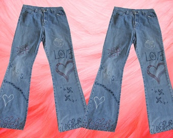 Jordache Grunge Flared 90's Boot cut Faded Hippie Denim Jeans