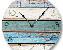 Weathered Beachy Boards wall CLOCK - ocean colors old paint boards printed image - shabby beach wall home decor - 7111