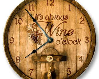 Its always WINE o'clock wall clock - wooden cask lid printed image - rustic cabin bar home decor - 7128