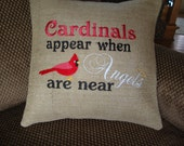 Cardinal Red Bird BurlapThrow Pillow Angel Saying Throw Pillow Cover 14 By 14 Size Inspirational Saying Gift Machine Embroidered