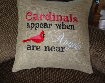 Cardinal Red Bird Angel Saying Burlap Throw Pillow 14 By 14 Size Inspirational Saying Machine Embroidered