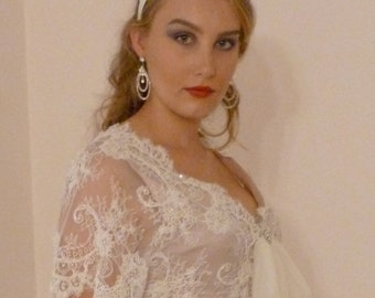 Wedding Dress Lace Boho Crop Top and Skirt Beaded Silk French Lace Bohemian Beach- design by Lace Sparkle Vintage