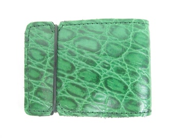 New! hand made green leather croc cash cover wallet