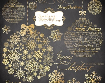 Christmas Clipart | INSTANT DOWNLOAD | Gold | Watercolor | Digital Art | Graphics | Snowflakes | Christmas Ornaments | Merry Christmas