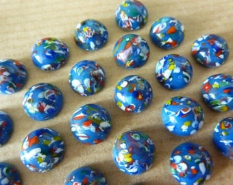 12 glass cabochons, Ø8mm, harlequin, blue, round