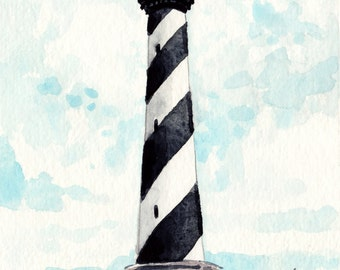 Cape Hatteras Lighthouse Giclee Print of Watercolor Painting Outer Banks Light House Ocean Coastal Nautical North Carolina Travel