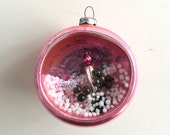 Vintage Mid Century Indent Diorama Pink Glass Christmas Tree Ornament with Candle Snow Scene