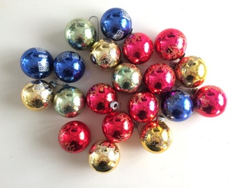 20 Glitter Stenciled Shiny Brite Christmas Tree Ornament Collection - Colorful Glass Balls